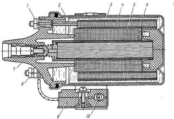 Катушка зажигания Б115-В (рис. 156) имеет первичную обмотку 4, состоящую из 320 витков медной эмалированной проволоки...